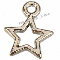 Wholesale Small Pendants Tibetan Silver - jewelry findings and components tibetan silver stars charms diy bracelet necklaces pendants small open metal for jewelry making 12mm 1000pcs