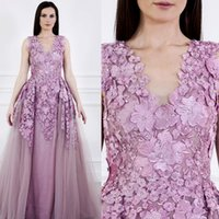 Elie Saab Purple Tiefem V-ausschnitt Abendkleider Applique Strass Formales Kleid Party Abendgarderobe Plus Size African Prom Kleider Sweep Zug