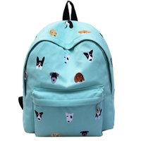 Wholesale Soft Dog Backpacks - 2016 Women Canvas Backpacks Animals Dogs Embroidery Schoolbags For Teenagers Girls Outdoor Travel Bags Bolsas Mochila Feminina