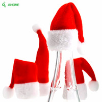 Wholesale Decorative Bottles For Gifts - Wholesale- 2pcs Christmas Wine Bottle Hat Cover Cute Christmas Cap For Bottles Mouth Santa Claus Xmas Gift Red Christmas Party Decorative