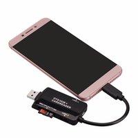 память для телефона оптовых-Универсальный OTG 2 порта USB2.0 концентратор с безопасной цифровой карты памяти/TF/MS/MMC / M2 кард-ридер расширение телефона