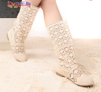 Wholesale Summer Knitted High Heel Boots - 2015 spring summer women boots sweet cool knitted cotton lace flat heel high boots big size boots .@DS89