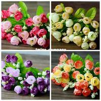 Wholesale Cheap Orange Bouquet - artificial silk plastic flowers fake bouquet cheap for wedding decoration manualidades mariage boda flores plants 15of tea roses