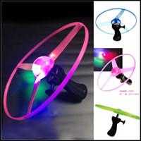 Wholesale Night Flying Toys - 2015 kids gift toys pull wire flash luminous flying toys 25 cm 3 colors random LED light UFO children night fun J070902#
