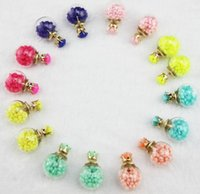 Wholesale Colored Ball Stud Earrings - 2015 Transparent Glass Ball Stud Earrings Double Side crystal Colored Beads Inside Crystal Zircon Stud Earrings fashion Jewelry For Women HQ