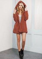 Wholesale Lambs Wool Womens Jackets - New Winter Europe Fashion Womens Faux Fur Coat Lady's Lamb Wool Hooded Outwear Jacket Coat 5 Colors C3227
