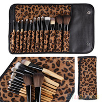 Wholesale Leopard Makeup Kit - 12pcs per Set Women Pro Makeup Brush Set Cosmetic Tool Leopard Bag Beauty Brushes Kit By DHL #71701
