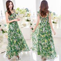 Wholesale Korean Floral Beach Dresses Women - Green Floral Korean Women Spaghetti Strap Maxi Dresses 2015 Vestidos Sexy Ladies Slash Neck Chiffon Bohemian Beach Maxi Dress