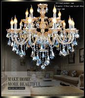 Wholesale Iron European Chandeliers - ceiling crystal chandelier LED european candle crystal chandeliers ceiling wrought iron chandeliers High Quality Chandeliers