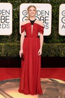 73 ° Golden Globe Awards 2016 Red Carpet Natalie Dormer vestiti dalla celebrità Rosso perle breve maniche Halter Backless Abiti da sera