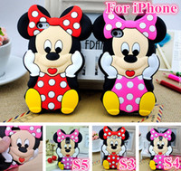 Wholesale Galaxy S4 3d Cartoon Cases - 3D Cute Cartoon Mickey Minnie Mouse Silicone Rubber Back Case For iPhone 4 5 6 4.7 Plus 5.5 iPod Touch Samsung Galaxy S3 S4 S5 Note 2 3