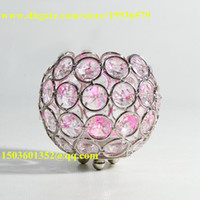 Wholesale Tealight Candle Holder Clear Glass - Dining table centerpiece decoration using bowl shape clear glass crystal beaded votive candleholders beautiful accessories for table decorat