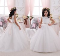 Wholesale Modern Christening Dresses - 2016 Modern Cheap New Flower Girls Dresses For Weddings Lace White Illusion Neck Sashes Bow Party Birthday Dress Children Girl Pageant Gowns