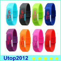 Wholesale Multicolor Rubber Bracelet - Sports rectangle led Digital Display touch screen watches Rubber belt silicone bracelets Wrist watches led touch wristwatch