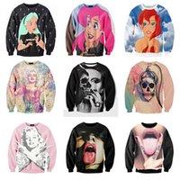 Wholesale Ladies Skull Hoodies - w1216 Free shipping! Stars Sexy Lady skull Punk Marilyn Monroe Print 3d Sweatshirt Women Men Outerwear Rock hoodies plus size S-3XL