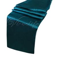 banket masaları dekorasyonları toptan satış-Ücretsiz Kargo 10 ADET Yeni Teal Mavi Saten Masa Koşucular 12
