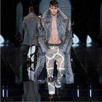 deri açma kaplamaları erkekler toptan satış-Sıcak faux gümüş tilki kürk erkek deri ceket erkekler uzun trençkot villus takım elbise yaka kış gevşek termal İngiltere giyim