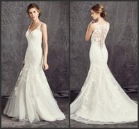 Wholesale Ella Mermaid Bridal Dress - Embroidery Lace Mermaid Wedding Dresses Illusion Back KR 2016 Ella Rosa BE278 Ivory V Neck Straps Bridal Gowns Covered Button Court Train