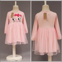 Wholesale autumn clothing cats for sale - Group buy Lovely Girls Pink long sleeve dresses cute cat printed Princess Party Dress Y children autumn clothes MOQ SVS0516