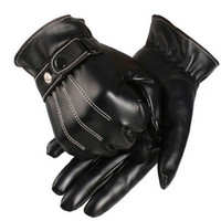 Wholesale Mens Black Leather Gloves - New Classic Mens Luxurious PU Leather Winter Super Driving Warm Gloves Cashmere Dave