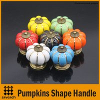 Wholesale Wholesale Cupboard Door Handles - 7 Colors Pumpkins Kitchen Cabinets Knobs Bedroom Cupboard Drawers Ceramic Door Pull Handles With Screws 4*4*4 cm