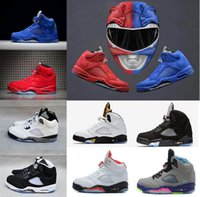 Wholesale Mens Purple Sneakers - 2017 New Air Retro 5 red suede Mens Basketball Shoes Cement white blue suede space jam Oreo OG Metallic Black Metallic Gold sneakers