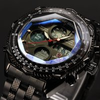 Wholesale Digital Day Clock - Brand New SHARK Digital Watches LCD Stainless Steel Strap Relogio Masculino Black Male Clock Men Wristwatches Quartz Military Watch   SH116
