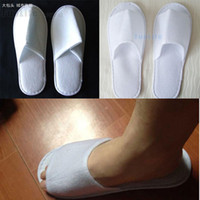 Wholesale Times Slippers - 30pairs 2 styles can mixed one-time lint slippers disposable shoe home white sandals hotel babouche travel shoes free shipping