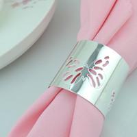 Wholesale Eco Tablewear - 500pcs lot Elegant Hollow Napkin Rings Flower Butterfly Style Pierced lace Metal Ring Wedding Banquet Tablewear Serviette Holders wa153z