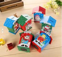 Wholesale Wooden Piggy Banks - 2016 New Christmas gifts Christmas wooden piggy bank piggy bank creative children gift Santa Claus decorations