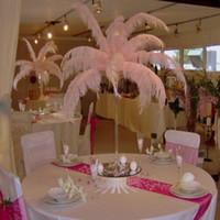 Wholesale Pink Orange Wedding Centerpieces - 2016 New Arrival DIY Ostrich Feathers Plume Centerpiece for Wedding Party Table Decoration Wedding Decorations 30cm-35cm Wedding Supplies