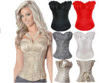 Wholesale Grey Corsets - Multicolor , Hot Sale Corset and Bustier, Satin Grey khaki Black Red Corset Body Shaper for Women