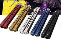 Wholesale Salon Styling Comb - Fashion Hot Delicate Pro Salon Stainless Steel Folding Training Butterfly Practice Style Knife Comb Tool