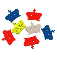 """Wholesale Sewing Buttons Crown - Wood Sewing Button Scrapbooking Crown At Random 2 Holes 28.0mm(1 1 8"""")x 22.0mm( 7 8""""),3 PCs 2015 new"""