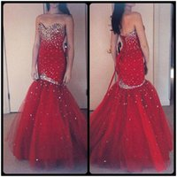 Wholesale Sexy Dazzing Mermaid - Dazzing 2016 Mermaid Prom Dresses Red Burgundy Crystals Pageant Gowns Sexy Evening Dress Tulle Cheap Formal Long Train Sweetheart Beading