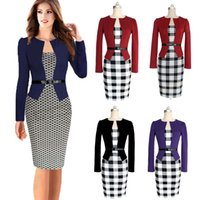 Wholesale Plaid Tunic L - Women Colorblock Long Sleeve Wear to Work Business Party Bodycon Dress Business OL Tunic Dress Bodycon Dress Office Pencil Dress OXL0X008