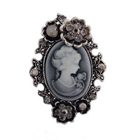 Wholesale antique rhinestone brooches - Retro Stylish Victorian Queen Lady Cameo Brooch Antique Silver Plated Beautiful Flower Cheap Brooch Pins Women Gift
