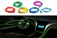 Wholesale Led Color Strip Rope Light - Retail Selling LED Strips Gadget 6 color 3M Flexible Neon Light Glow EL Wire Rope Car Party Decoration+Controller Water Resistant