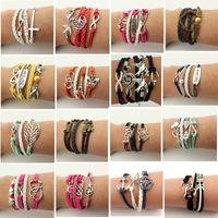 Wholesale Pearl Charm Bracelet Antique - 2016 Hot Selling Infinity Bracelet Leather Bracelets Antique Cross Anchor Love Peach Heart Owl Bird Believe Pearl Charm Bracelets DHL Free
