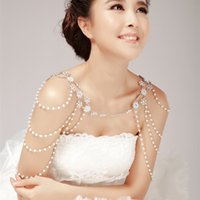 Wholesale Jewelry Ring Images - Real Image Sparkly Shoulder Chain Wedding Bridal Princess Crystal Rhinestone Body Jewerly Beaded Wedding Party Accessory Bridal Jewelry Set