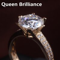 Wholesale Moissanite Yellow Gold - 3 Carat ct F Color Engagement Wedding Lab Grown Moissanite Diamond Ring With Real Diamond Accents 14K 585 White Yellow Gold q171026