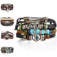 Wholesale turkish evil eye bracelets - Punk Design Turkish Evil Eye Bracelets For Women Men Wristband Bangle Cuff Female Owl Leather Multilayer Wrap Bracelet Ethnic color 162532