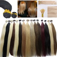 Wholesale Cheap Blonde Hair Extensions Dark - Super cheap keratin I tip hair Russian remy i tip human hair extensions 1g pcs pre bonded hair in stock
