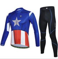 Wholesale Cycling Jerseys China - Wholesale-Blue American Captain Long Sleeve Cycling Clothes China Brand~Cycling Jersey+Mountain Bike Pants Men Cycling Sets Free Shipping