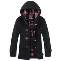 marka hendek yünü toptan satış-Güz-2015 Ünlü Marka Moda Katı Renk Kış Erkek Ceketler Yün Palto Kalınlaşmak Sıcak Ceket Giyim Kapşonlu Erkek Trençkot MCT44