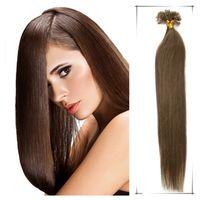 Wholesale 22 Inch Fusion Hair - Nail tip hair extensions Fusion hair keratin extension use Best Italian keratin glue for fashion women Hair Extensions Cheap Hair Free Shipp
