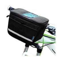 bolsa para guidão venda por atacado-Roswheel mountain bike à prova d 'água bicicleta guiador frente saco de telefone cesta bolsa pacote saco de ciclismo ao ar livre