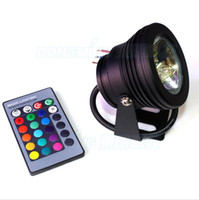 Wholesale 10W Waterproof LED Underwater Spotlights DC V RGB Lighting with Key IR Remote Controller Hot Sale WRGB