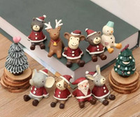 Wholesale Miniature Christmas Ornament - Christmas Gifts Resin Crafts Santa ornaments Miniatures Figurines Decoration Sant Claus Tree Bear resin craft Toy Christmas Gift