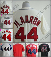 Wholesale Baseball Atlanta - 2014 NEW Hank Aaron Jersey Red White Cream Cool Base Atlanta Jerseys